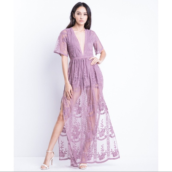 7035427aa431 H A U T E 》Lace Maxi Romper Dress